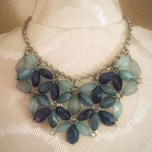 Turquoise & Blue Floral Necklace.